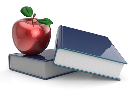 Books and red apple education learning health reading textbook examination back to school concept. 3d render isolated on white photo