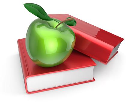 utiles escolares: Libros con manzana verde aprendizaje icono de libro de texto de la lectura de la salud examen concepto de educaci�n. 3d render aislado en blanco