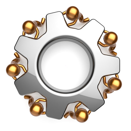 partnership power: Teamwork business workforce process workers unity turning gear together. Partnership team cooperation relationship efficiency community power concept. 3d render isolated on white