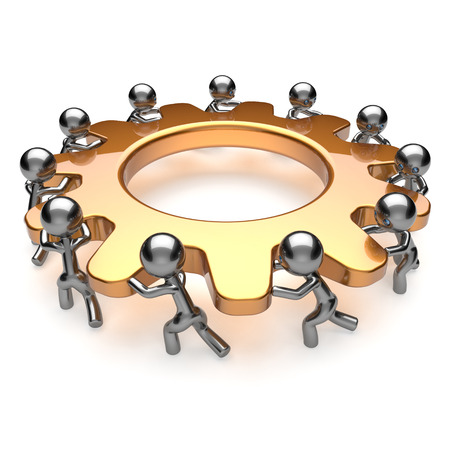 Partnership teamwork unity business process 11 workers turning gear together. Team cooperation efficiency relationship community workforce brainstorm concept. 3d render isolated on white photo