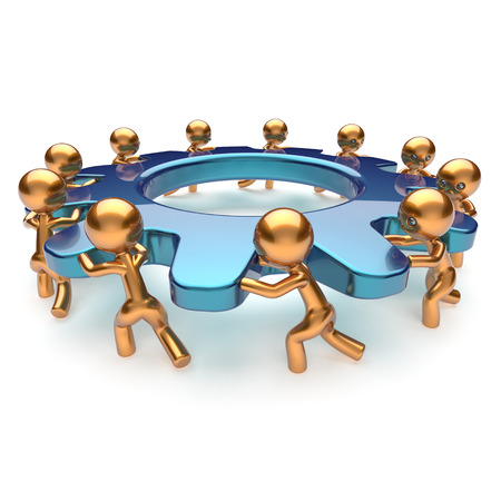 partnership power: Teamwork community power business process mans turning gear together. Brainstorming partnership team cooperation relationship workers efficiency concept. 3d render isolated on white Stock Photo