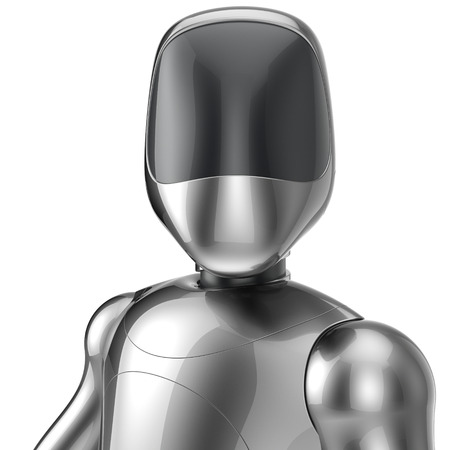 bot: Bot cyborg robot android futuristic artificial character concept chrome metallic shiny. 3d render isolated on white background