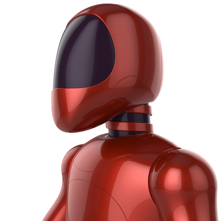 artificial model: Cyborg futuristic artificial model robot sci-fi bot concept red. 3d render isolated on white background Stock Photo