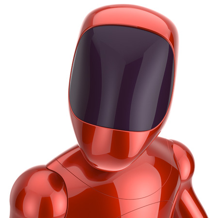 bot: Robot cyborg dummy red futuristic bot spaceman concept. 3d render isolated on white background Stock Photo
