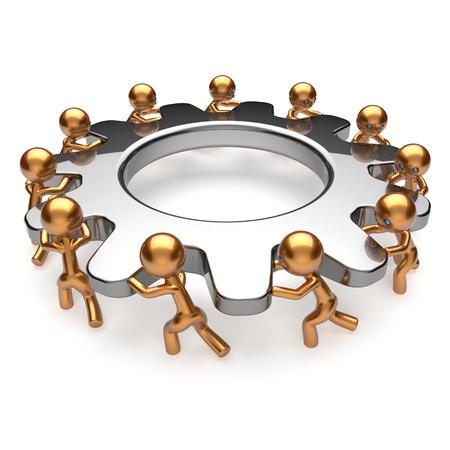 apoyo social: Personajes hombre de negocios de procesos de trabajo en equipo Asociación inflexión equipo juntos. Equipo de la relación de cooperación concepto de eficiencia comunidad. 3d render aislado en blanco