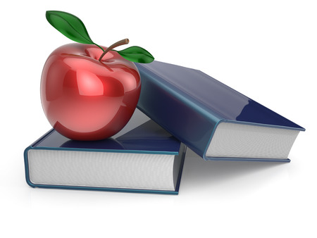 reference book: Books red apple textbook education studing reading learning school college knowledge wisdom idea icon concept. 3d render isolated on white Stock Photo