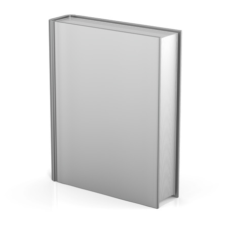 Blank book empty cover template single brochure document textbook cookbook workbook notebook knowledge media content information. 3d render isolated on white background photo