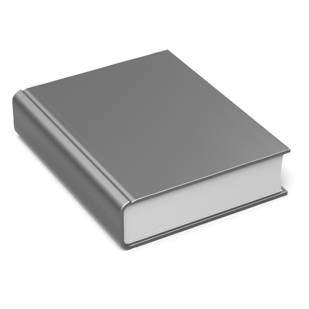 hard cover: Blank book empty template single brochure hard cover textbook cookbook workbook notebook knowledge content information. 3d render isolated on white background Stock Photo
