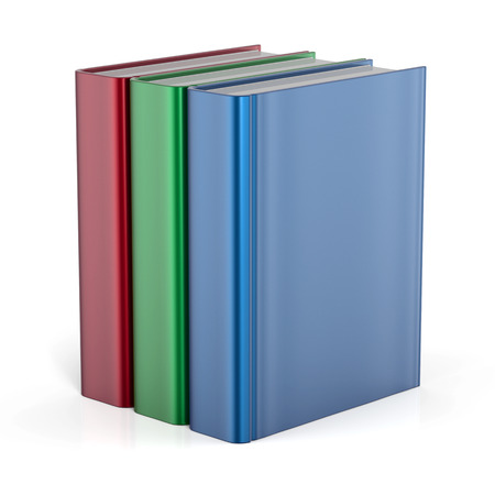 Books standing three blank cover no labels template textbook red green blue. School college learning information content icon concept. 3d render isolated on white background photo