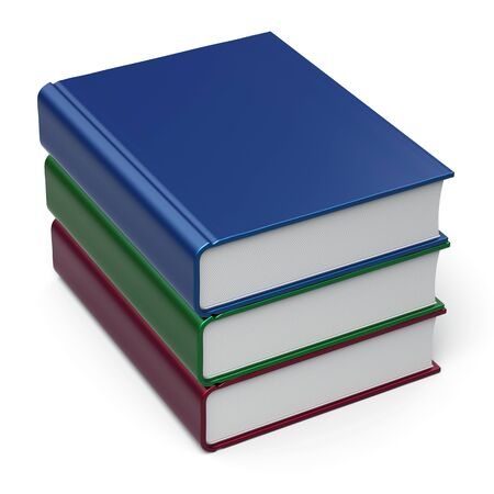 Books stack 3 three colorful blank cover. School learning information icon concept. 3d render isolated on white background photo