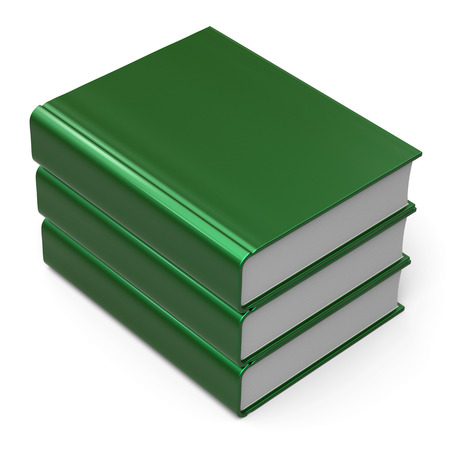 Books stack 3 three blank cover green. School learning information knowledge content archive icon concept. 3d render isolated on white background photo