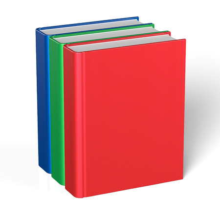 workbook: Books blank cover standing three 3 textbook workbook cookbook template red green blue. School college information content learning icon concept. 3d render isolated on white background Stock Photo