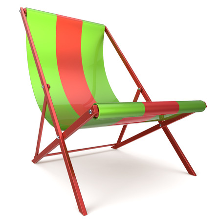 chaise longue: Beach chair green red chaise longue nobody relaxation holidays spa resort summer sun tropical sunbathing travel leisure comfort outdoor concept. 3d render isolated on white