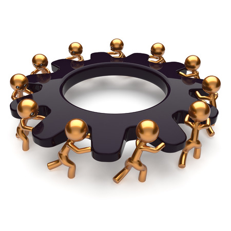 Partnership teamwork business unity brainstorm process mans start turning black gear together. Abstract team unity cooperation relationship community efficiency concept. 3d render isolated on white photo