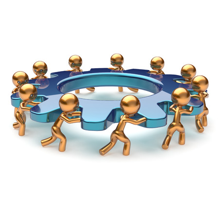 partnership power: Teamwork community partnership power business process mans turning gear together. Brainstorming team cooperation relationship workers efficiency concept. 3d render isolated on white
