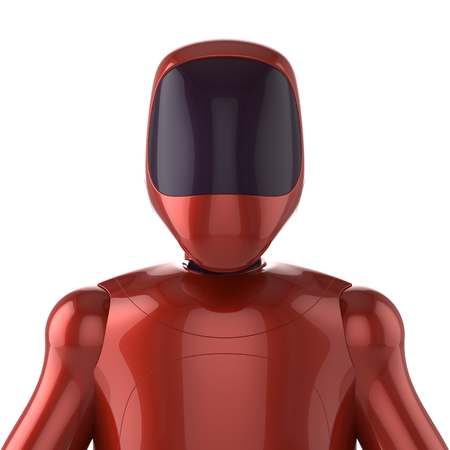 Robot red futuristic cyborg bot android avatar portrait concept. 3d render isolated on white background