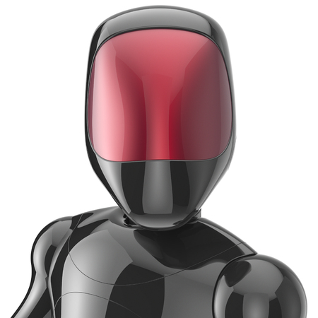 bot: Bot robot cyborg android futuristic artificial character concept black metallic shiny. 3d render isolated on white background