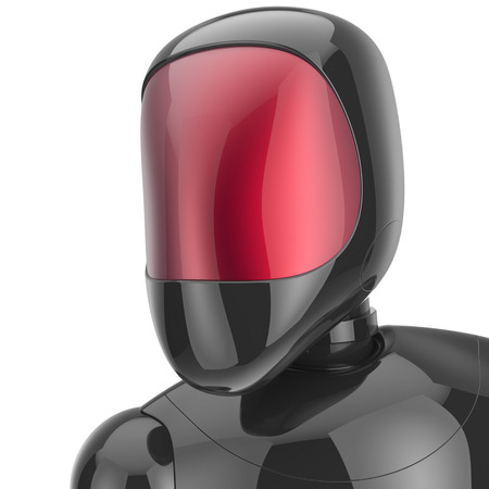 Robot cyborg android futuristic bot artificial character concept black metallic shiny portrait avatar. 3d render isolated on white background