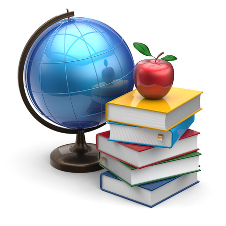 Globe books apple blank global international geography wisdom literature icon studying knowledge symbol concept. 3d render isolated on white background photo