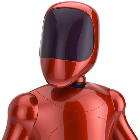 Red robot futuristic cyborg artificial bot android avatar portrait icon concept. 3d render isolated on white background photo