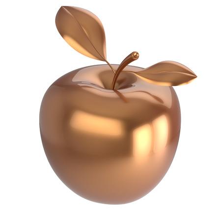 golden apple: Apple gold ripe fruit nutrition antioxidant fresh fruit exotic agriculture icon luxury golden. 3d render isolated on white background Stock Photo