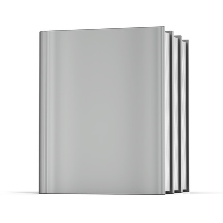 workbook: Book blank cover three standing grey textbook workbook cookbook 3 template. School college learning information content icon concept. 3d render isolated on white background Stock Photo