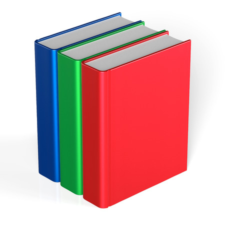workbook: Books blank three cover standing 3 textbook workbook cookbook template red green blue. School college information content learning icon concept. 3d render isolated on white background