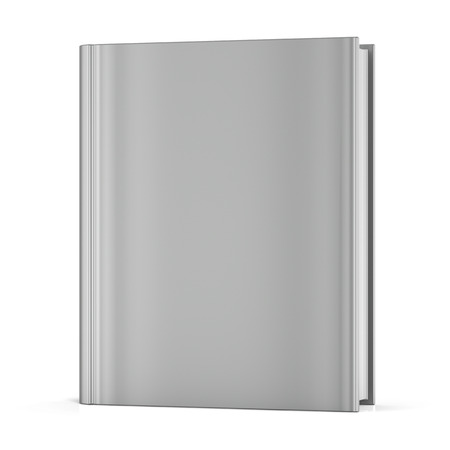 workbook: Blank book empty clean bookcase single template brochure grey hard cover textbook cookbook workbook notebook knowledge content information. 3d render isolated on white background