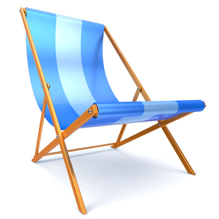 chaise longue: Beach chair blue chaise longue nobody relaxation holidays spa resort summer sun tropical sunbathing travel leisure comfort outdoor concept. 3d render isolated on white