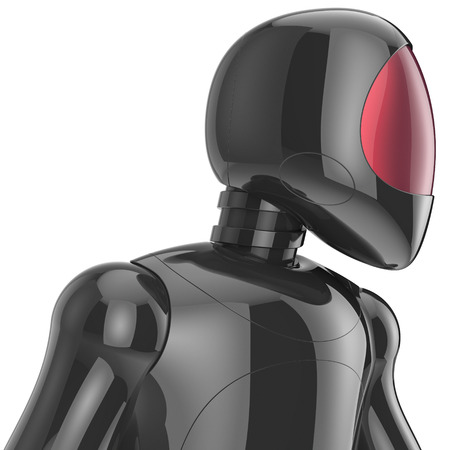 Cyborg bot robot futuristic artificial dummy black metallic concept. 3d render isolated on white background photo