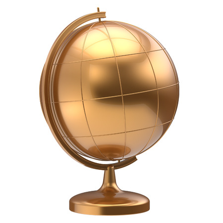 golden globe: Golden globe blank planet Earth global geography school studying world cartography symbol icon yellow gold. 3d render isolated on white background
