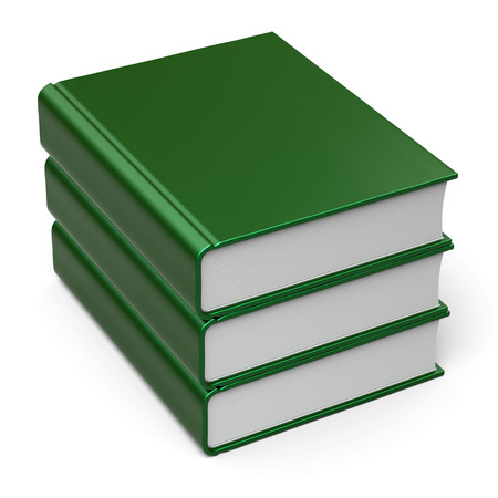 erudition: Green books stack blank cover 3 three. School learning information knowledge content archive icon concept. 3d render isolated on white background Stock Photo