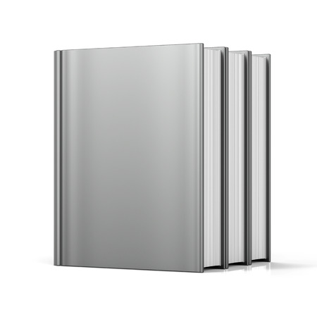 Blank books cover standing 3 three white textbook workbook cookbook template empty. School college learning information content icon concept. 3d render isolated photo