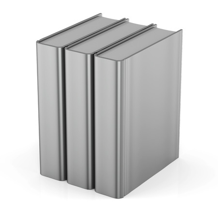 workbook: Blank books cover standing 3 three white textbook workbook cookbook template. School college learning information content icon concept. 3d render isolated Stock Photo