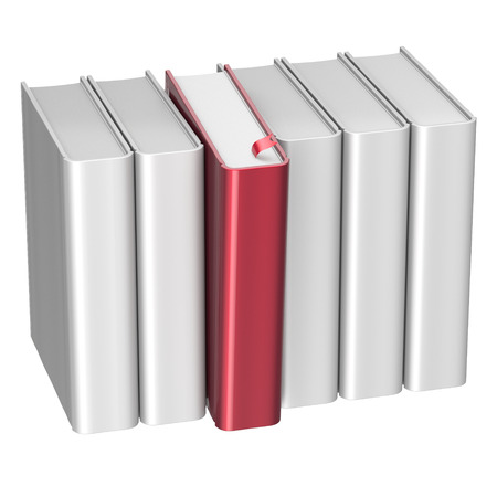 Book choice row white red selecting take choosing blank covers standing textbook template. School studying grab bookmark education content icon concept. 3d render isolated photo