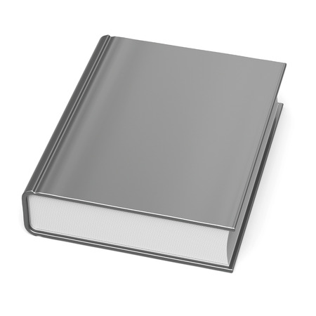 workbook: White blank book empty clean bookcase single template brochure grey hard cover textbook cookbook workbook notebook knowledge content information. 3d render isolated