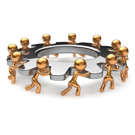 creative strength: Teamwork business process hard job partnership men characters turning gear together. Team cooperation manpower unity activism concept. 3d render isolated on white Stock Photo