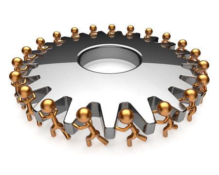 activism: Teamwork team work hard job business process men turning gear together. Brainstorming partnership cooperation assistance activism community unity concept. 3d render isolated on white