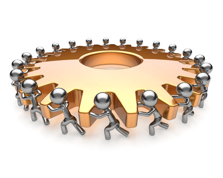 activism: Partnership teamwork team work hard job business men turning gear together. Brainstorming cooperation assistance activism community unity concept. 3d render isolated on white