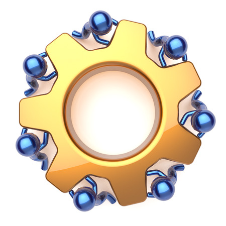 manpower: Teamwork team work business process workers turning gear together. Partnership manpower cooperation community make activism efficiency concept. 3d render isolated on white
