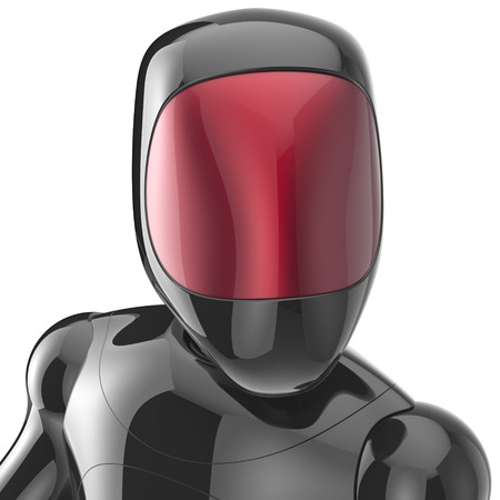 bot: Black robot cyborg bot android futuristic character artificial concept red shiny face metallic. 3d render isolated on white background Stock Photo