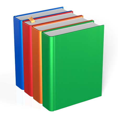 Four books educational textbooks blank bookshelf bookcase row standing 4 colorful blue red orange green template. School studying knowledge content icon concept. 3d render isolated on white photo