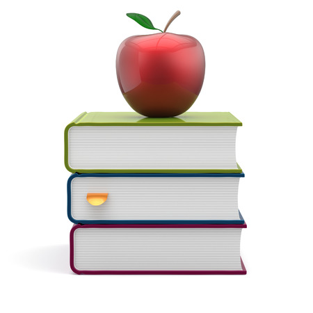 erudition: Books colorful blank stack red apple textbooks education studying reading learning school college knowledge literature idea wisdom icon concept. 3d render isolated on white