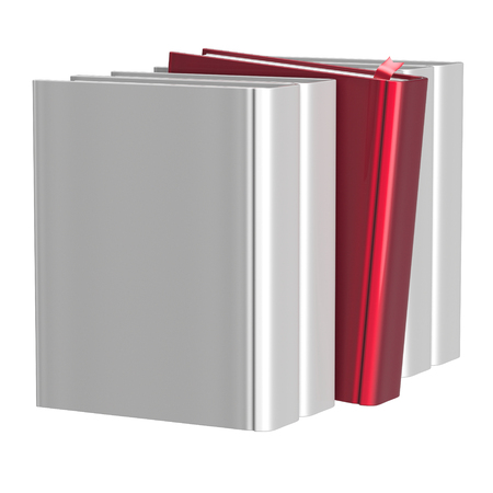 choosing selecting: Blank white books selecting bookshelf row one red selected choosing take answer covers standing individual textbook template. Grab index content icon concept. 3d render isolated on white Stock Photo