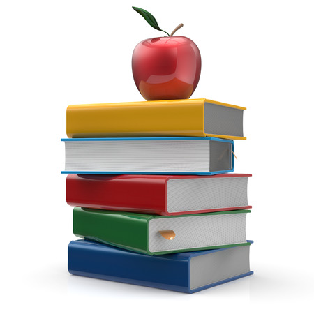 erudition: Red apple colorful books textbook education studying reading learning school college knowledge wisdom idea icon concept. 3d render isolated on white