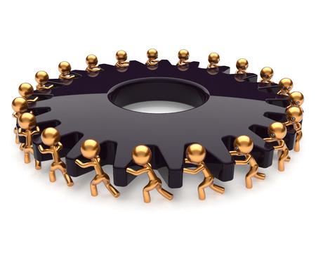 activism: Partnership teamwork business process team work hard job men turning black gear together. Manpower cooperation assistance activism community concept. 3d render isolated on white