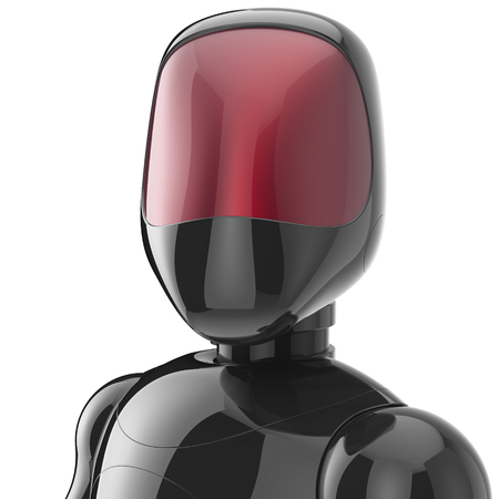 bot: Cyborg black robot bot android futuristic character artificial concept red shiny face metallic. 3d render isolated on white background
