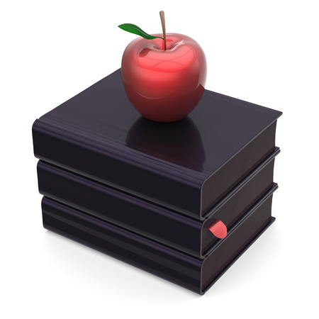 erudition: Books black apple red index textbooks stack education studying reading learning school college knowledge literature idea icon concept. 3d render isolated on white