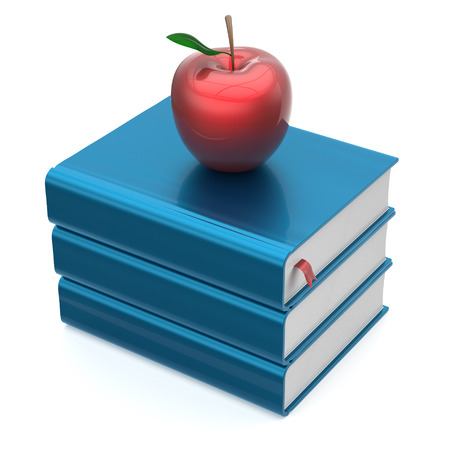 erudition: Blue books textbooks stack red apple education studying reading learning school college knowledge literature idea icon concept. 3d render isolated on white