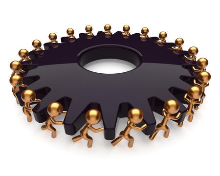 Les hommes d'emploi difficiles le travail d'équipe de partenariat engrenage noir processus d'affaires de travail d'équipe tourner ensemble. Aide à la coopération Manpower concept de communauté de l'activisme. 3d render isolé sur blanc Banque d'images - 40392620